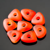 8 Large 3mm Hole Cultured Faux Sea Glass Pebble Beads, 14 x 5mm, Tangerine