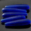 5 Cultured Faux Sea Glass teardrop beads, Royal Blue, 38 x 9mm