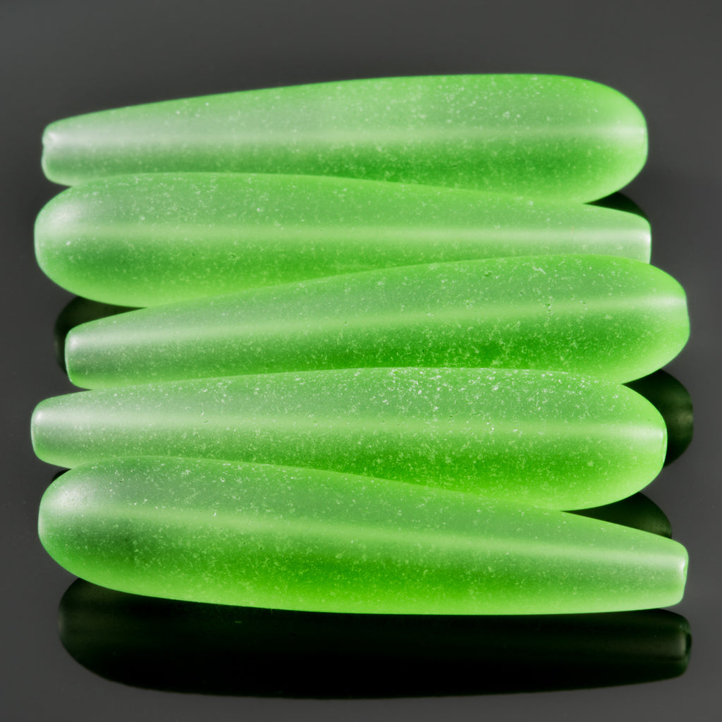 5 Cultured Faux Sea Glass teardrop beads, Peridot, 38 x 9mm