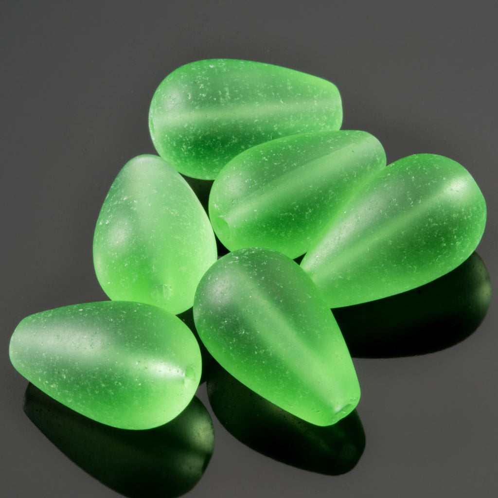 6 Cultured sea glass round drop beads, 16 x 10mm, Peridot