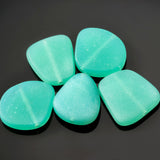 5 Cultured sea glass freeform beads, 23 x 20mm, Opal seafoam green