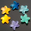 2 Cultured Faux Sea Glass Top Side Drilled Starfish Pendants, Desert Yellow, 20 x 7mm