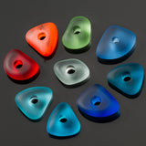 6 Cultured sea glass large 3mm hole pebble beads, 14 x 4mm, Teal