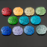 2 Cultured Faux Sea Glass Earring Size Sand Dollar Pendants, Shamrock, 21 x 19mm