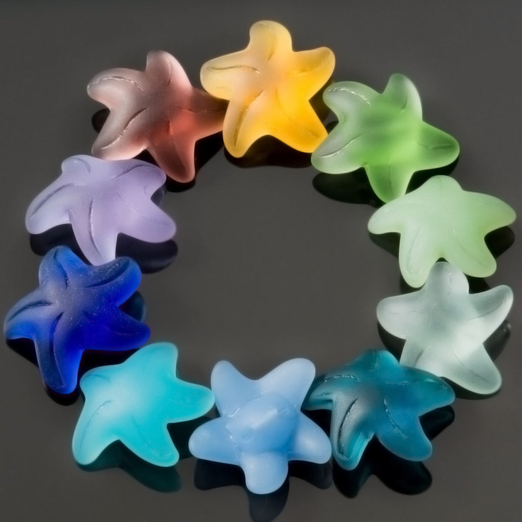 2 Cultured recycled sea glass starfish buttons, 20 x 8mm, Opal green