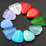 5 Cultured sea glass freeform beads, 23 x 20mm, Opal blue