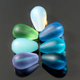 6 Cultured sea glass round drop beads, 16 x 10mm, Moonstone opal