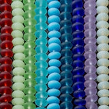 28 Cultured recycled sea glass 12 x 3.5mm rounded thin rondelle beads, Opaque blue