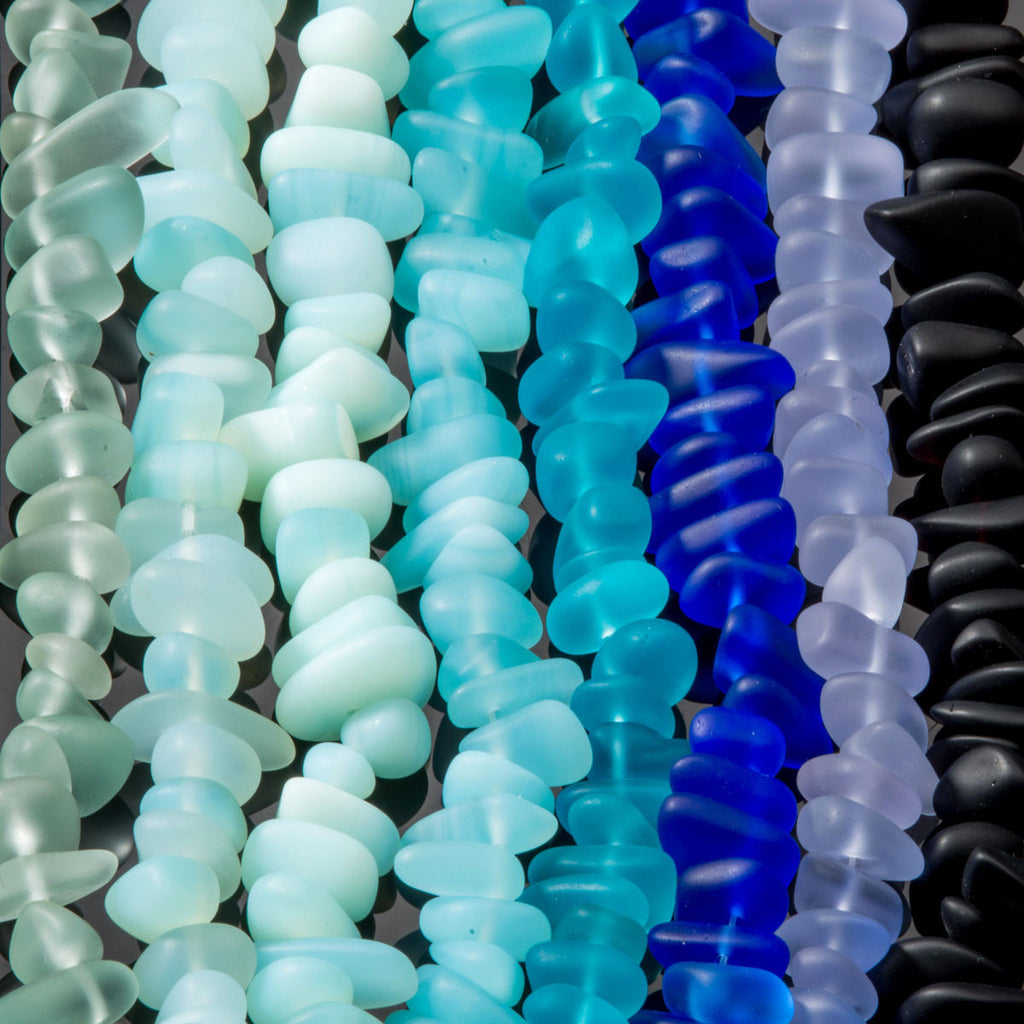 One strand of 50 pebble sea glass beads, 6 - 20mm, Turquoise bay