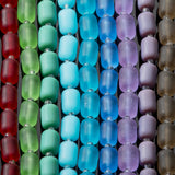 One strand of cultured sea glass barrel beads, 10 x 8mm, Opal blue