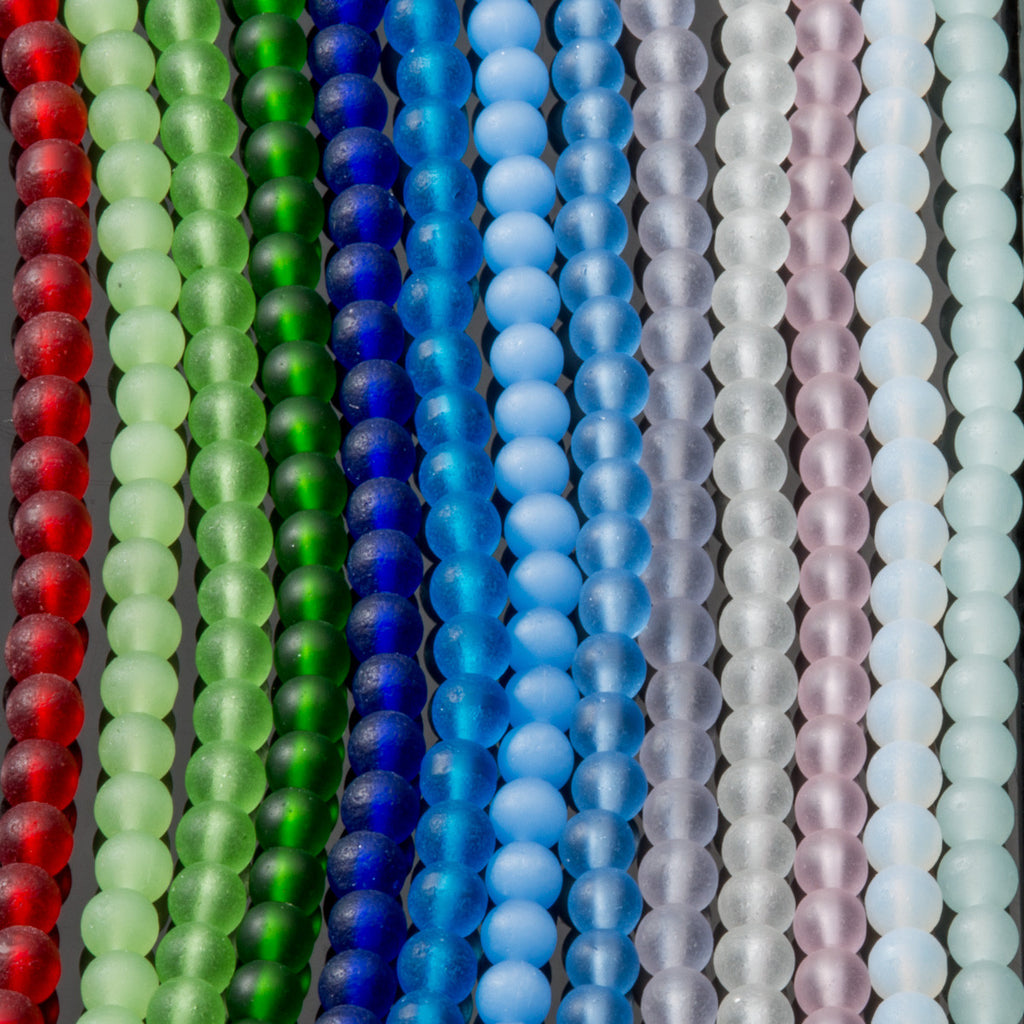One strand of 47 Cultured recycled sea glass 4mm round beads, Teal