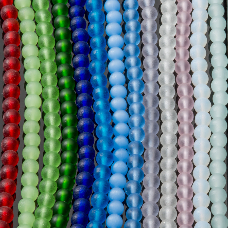 One Strand of 48, Cultured Faux Sea Glass Round Beads, Light Sapphire, 4mm