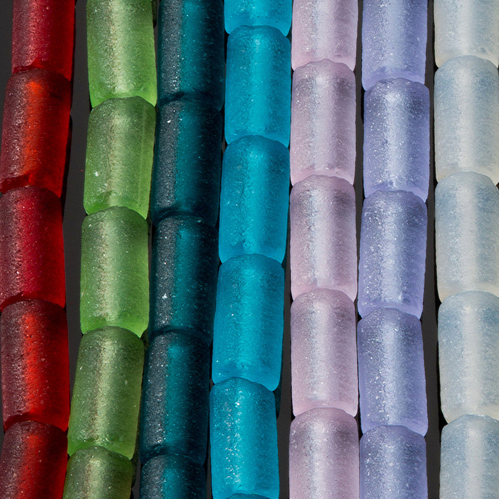 One strand of 24 Cultured Sea Glass tube beads, 9 x 4mm, Teal