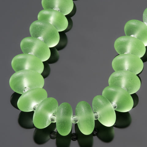 18 Cultured Faux Sea Glass, Large 2.5mm Hole, Roundelle Beads, Peridot, 10 x 5mm