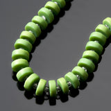 36 Cultured beach glass repurposed etched glass heishi beads, 8.5 x 3.5mm, Opaque spring green