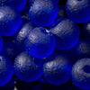 One Strand of 32 Cultured Faux Sea Glass Round Beads, Royal Blue, 6mm