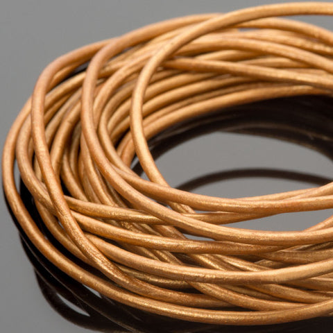 1.5mm round leather cord Metallic Indian Sun, 10 Feet