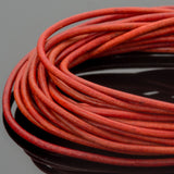 1.5mm premium round leather cord in Natural red, 10 Feet