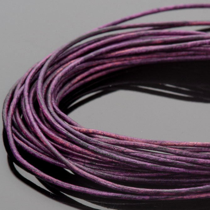 1.5mm round leather cord Natural Violet, 10 Feet