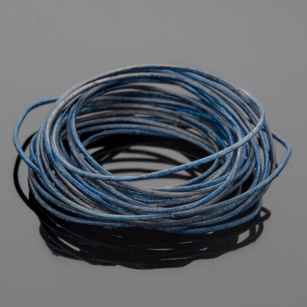 10 Feet 0.5mm Premium round leather cord, Natural Blue