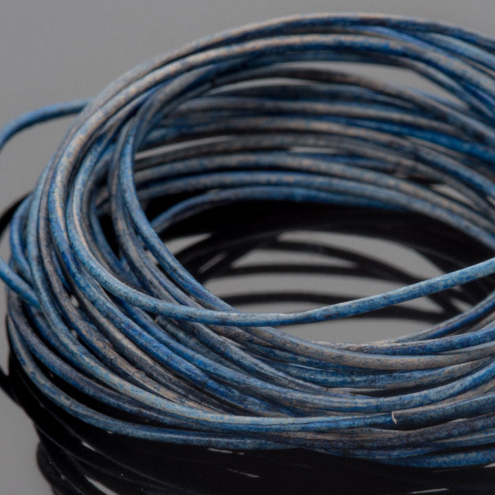 0.5mm round leather cord in Natural Blue, 10 Feet
