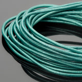 1.5mm round leather cord Metallic truly teal, 10 Feet