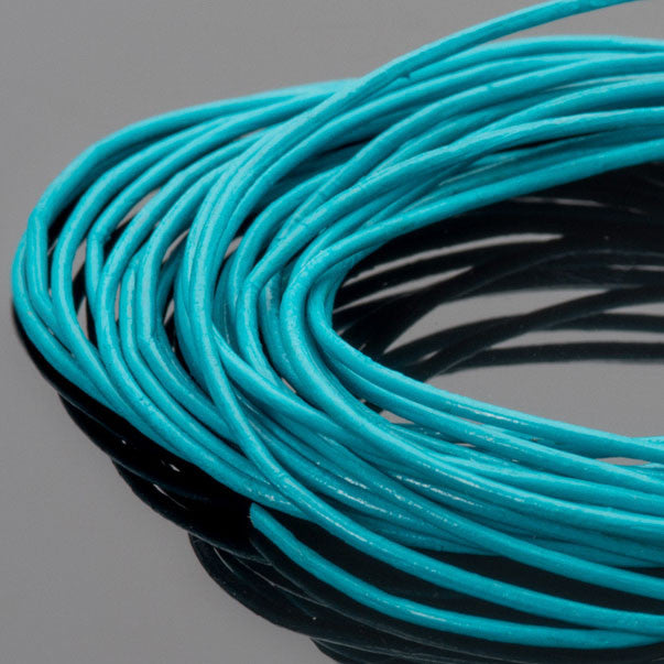 0.5mm round leather cord in Turquoise, 10 Feet