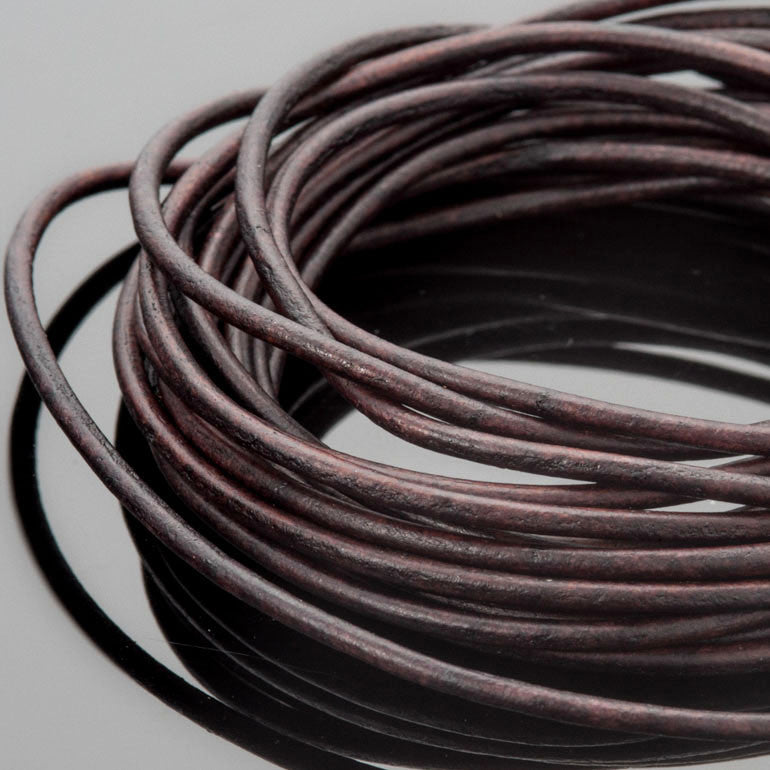 2mm Round leather cord in Natural dark brown, 10 Feet