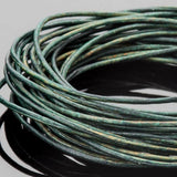 0.5mm round leather cord Natural turquoise green, 10 feet