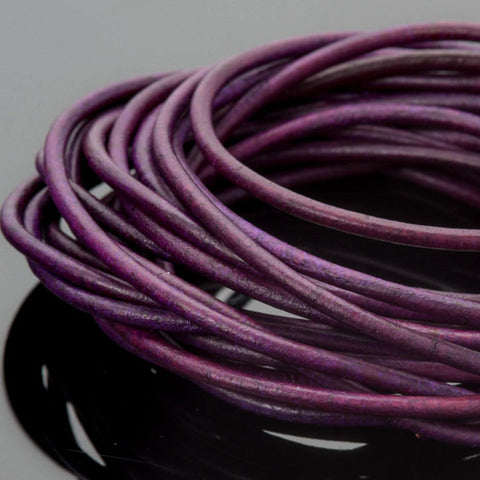 2mm round leather cord Natural Violet, 10 Feet
