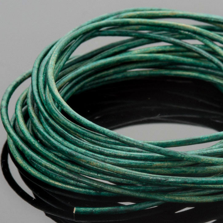 10 Feet 1mm Premium round leather cord, Natural turquoise green