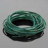 1mm round leather cord Natural turquoise green, 10 feet