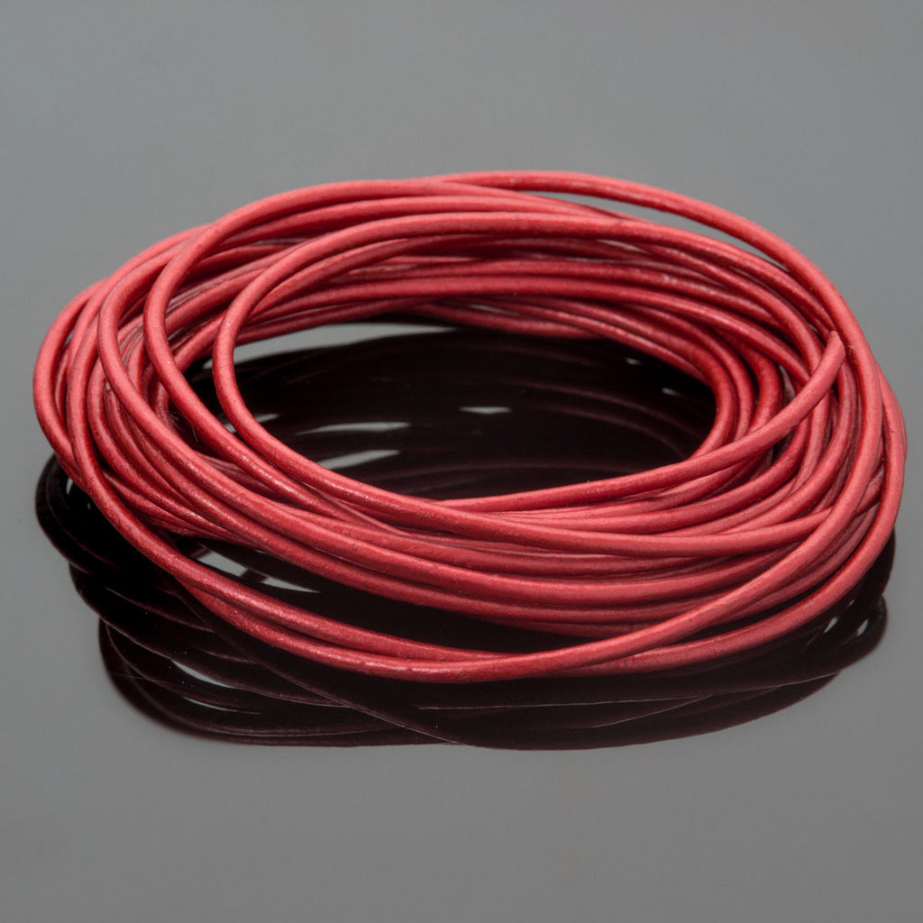1.5mm round leather cord in Metallic Moroccan red, 10 Feet