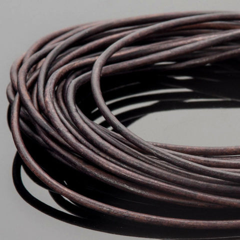1.5mm Round leather cord Natural dark brown, 10 Feet