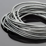 1.5mm round leather cord in Metallic gray, 10 Feet
