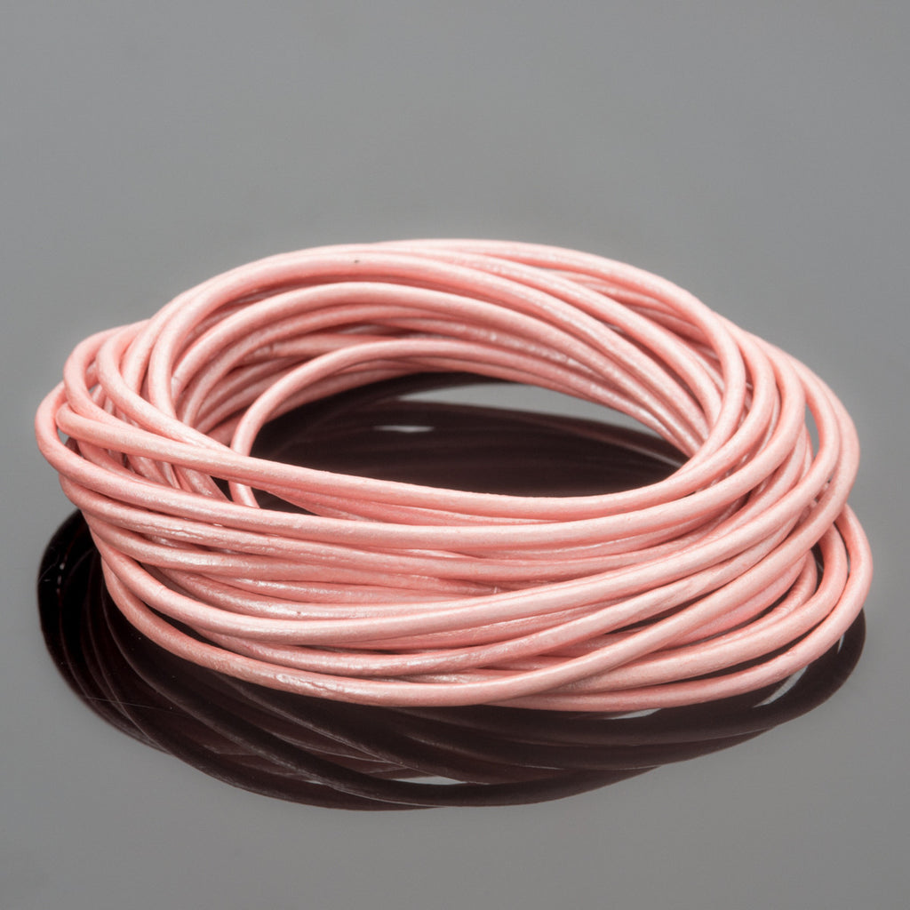 1.5mm round leather cord Metallic Mystic Pink, 10 Feet