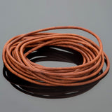 2mm round leather cord in Natural Red Brown, 10 Feet