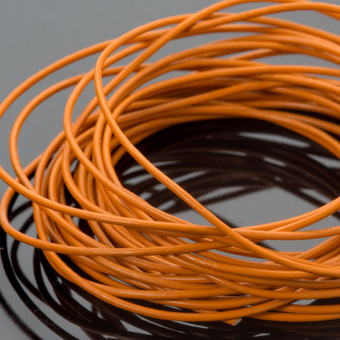 0.5mm premium round leather cord in Marigold orange yellow, 10 Feet