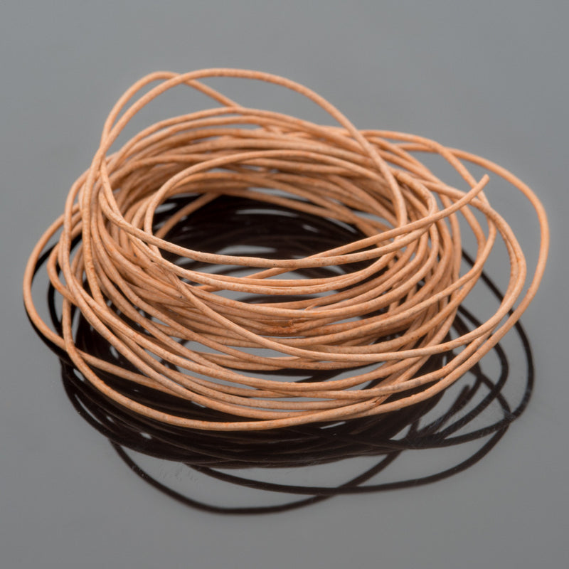 0.5 Round leather cord in Natural, 10 Feet