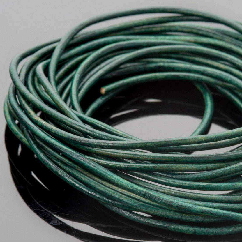 1.5mm round leather cord Natural turquoise green, 10 feet