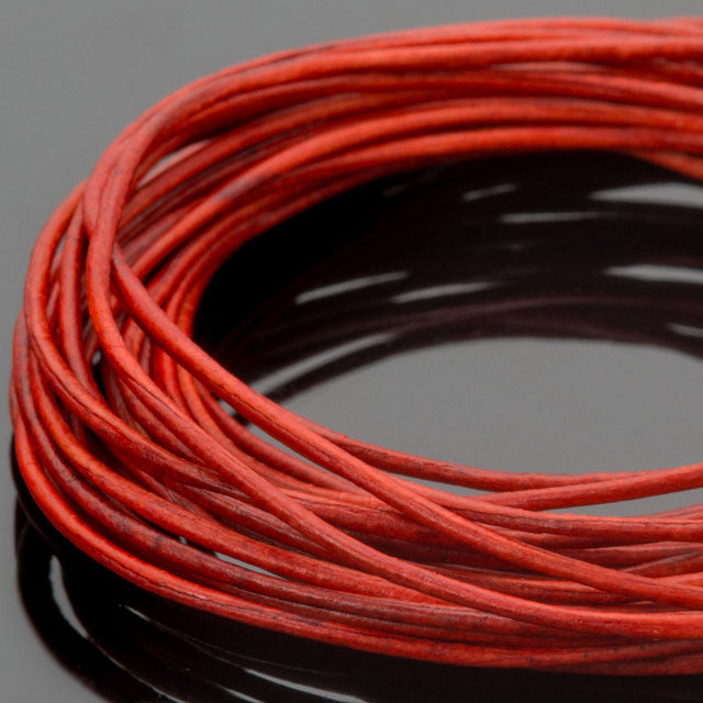 10 Feet 0.5mm premium round leather cord in Natural Red