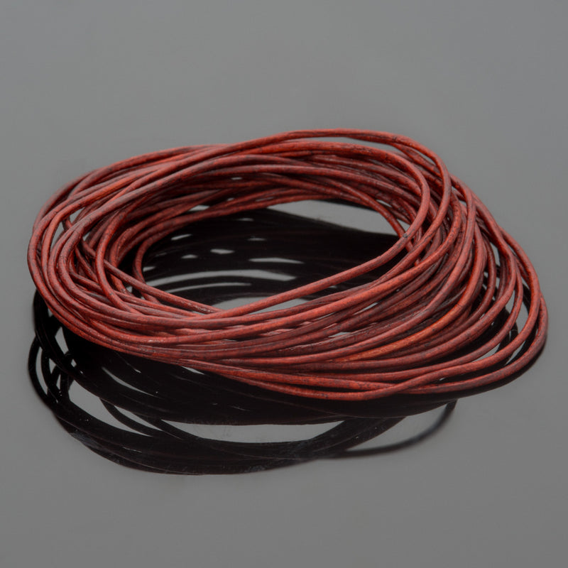 0.5mm premium round leather cord in Natural Turkey Red, 10 Feet