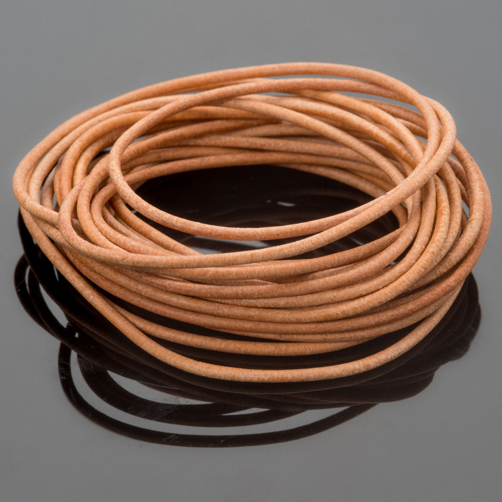 1.5mm Round leather cord in Natural, 10 Feet