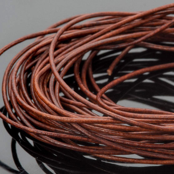 0.5mm round leather cord in Natural Red Brown, 10 Feet