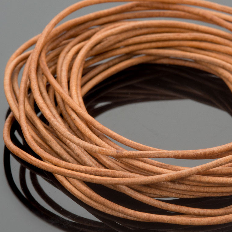 1mm Round leather cord in Natural, 10 Feet