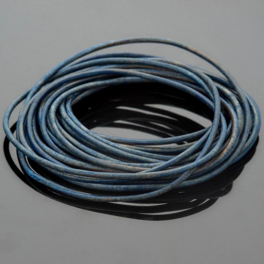 1.5mm round leather cord Natural Blue, 10 Feet