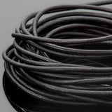 1.5mm round leather cord Natural black, 10 Feet