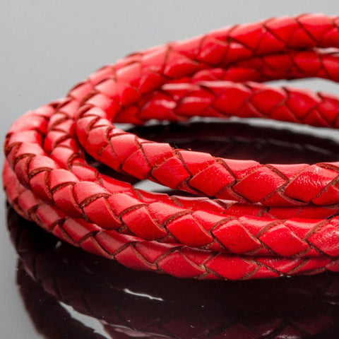 CLEARANCE 5mm Bright Red round leather woven bolo cord, 1 Foot