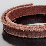 1 Foot 10mm flat leather highly distressed weathered brown 10mm