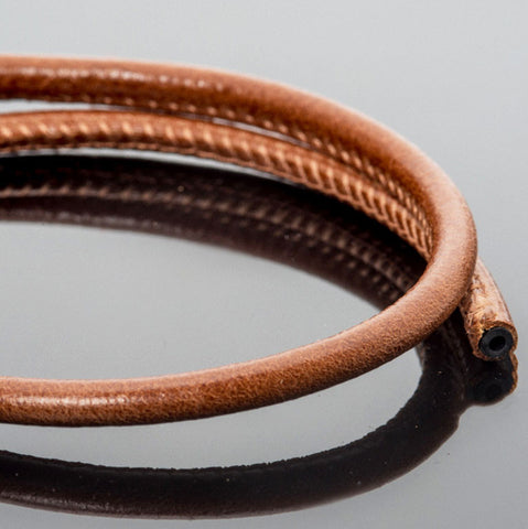 CLEARANCE 5mm Premium stitched soft round brown leather cord 1.8mm inner core, 1 Foot
